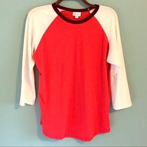 LuLaRoe Randy Raglan Shirt Med. Red Black White
